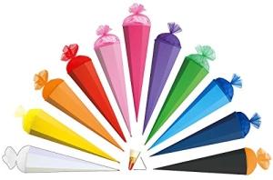 Schultüte - einfarbig - Rohling / Bastelschultüte - hellblau - 85 cm - mit Holzspitze / Tüllabschluß - Zuckertüte Roth - zum Basteln, Bemalen und Bekleben - 1