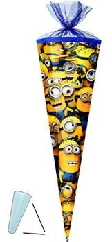 Schultüte - Minions - 85 cm - Tüllabschluß - Zuckertüte - mit / ohne Kunststoff Spitze - für Mädchen & Jungen - Minion - ich einfach unverbesserlich - 1